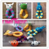 Crochet baby rattle soft toy, Eco-friendly hand knitted animal rattle toy