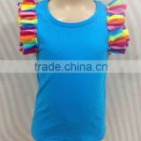 2016 Yiwu kids clothes apparel factory summer turquoise ruffle sleeve tank top baby girl clothes