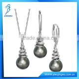 Fashion Pearl and Diamond 925 Sterling Silver Jewelry Set
