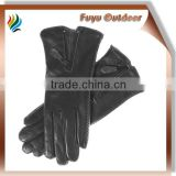 High-end china long black driving lambskin plain style lined women fleece lined leather gloves