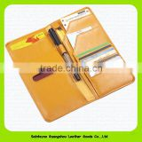 RFID travel organizer wallet holder with pen slot custom leather passport cover 15209