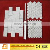 White carrara flower pattern marble mosaic tile