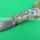 OEM Abalone Handle Mini Damascus Steel Folding Knife