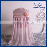 CH046D cheap wedding chiffon and satin flower decorated universal ruffled blush pink banquet chair cover