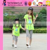 2015 Fashion Sunshine Mother And Daughter Family Suit Elegant Printed Cheaper Mother And Daughter T-Shirt