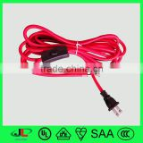 New beautiful red CSA UL approval fabric power cord CSA 2 pin power plug with 303 switch