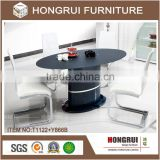 Black oval glass dining table with 4 chairs / mdf base dining table oval glass top dining table