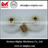 low noise 0.5 module POM and brass spur gear with flange and side hole