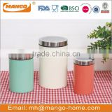 Traditional airtight recycled round stainless steel metal pasta canister