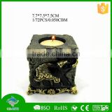 Cheap square resin candle holder carving indian elephant statues