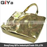 Wholesale Cheap Promotional Huge Capacity Foldable Silver Gold Non-woven Shopping Bags Advertising Bags
