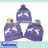 Wholesale cheap custom knitted acrylic winter warm beanie Jacquard Beanie with POMPOM Purple with white horse