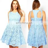2014 High quality light blue lace sleeveless cut out back plus size skater dress china supplier OEM