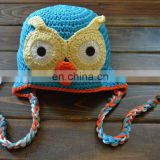 Wholesale Knitted Baby Hat ,Children Hat Kid Beanie Blue HOOT Boys OWL Ear Flap Beanie