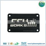 Fashional Anodized Black Electronics Nameplate Sign With 4 Holes, Silver Embossed Letters With Diamond Cutting