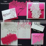 laser cut sef of wedding invitation card paper laser cut flower decoration shape invitations