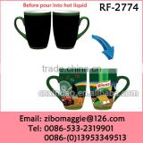 Belly Shape Colored Promotion Ceramic Coffee Cup with Knorr Design for Magic Cup