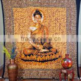 Indian Tapestry Cotton Buddha Print Light Brown Vintage Wall Hanging Meditation Spiritual Tapestries Throw Bedsheet