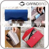 Good Quality Multifunction PU Leather Clutch Wallet Travel Wallet Glasses Case for men and women