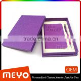 Colorful notebook planner leather with crystal pen gift set