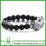 Hot selling turkey men bracelet natural onyx bead bracelet Alibaba online wholesale black matte bracelet