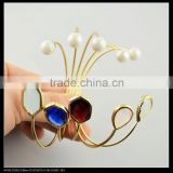 LFD-B0029 Wholesale Mix Color Faceted Crystal & Pearl Gold Plated Bracelet , Different Shape Crystal Bead Charm Cuff Bangle