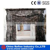 Antique Dark Brown Marble Carved Fireplace for Indoor Decoration