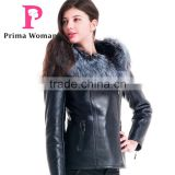 2015 Winter Leather Short Slim Fit Embroidered Women Coat With Belt Silver Fox Fur Hat