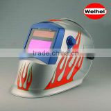 LARGE VIEW Auto Darkening Welding Helmet Hood Mask - Battery and Solar Combo - Carbon Fiber