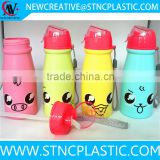 cartoon children plastic water drink bottle with straw 450ml