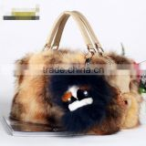 New winter fashion color matching rabbit fur women handbag high contrast stitching fox fur package