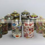 Luxury scented soy wax candle in high quality printed ceramc jar