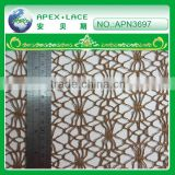 lace fabric in rolls/italian lace fabric/cheap lace fabric in brown color-APN3697