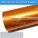 CARLIKE Bubble Free Glossy Orange Chrome Metallic Adhesive Film Glossy Vinyl                                                                         Quality Choice