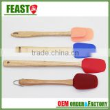 cooking baking silicone spatula with wooden handle easy flex 3-piece silicone spatula set