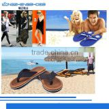 Cotton fabric upper material and beach use recycled rubber flip flops