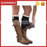 C02 Wholesale Black Dainty Lace Knitted Lace Boot Cuffs with Buttons Short Lacy Leg Warmers