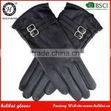 New Collection Winter Cashmere Lined Ladies Buckles Black Soft Leather Car Driving Gloves