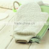 Bamboo fiber body cleaning bath shower gloves