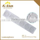 Good quality big size cupcake decorating fondant silicone lace mat for cake border decoration reposteria
