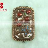 Butterfly rhinestone makeup mirror/red bronze pocket mirror/butterfly rhinestone cosmetic mirror