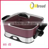 professional square electric pan skillet with non-stick coating