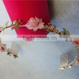 Baroque flower metal headband vintage gold metal leaves Pearl hair band wedding bridal crown hair accessories girls FHHBC5002