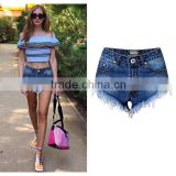2016 Summer Fashion Women Hot Pants Denim Shorts Ladies Classic Top Quality Fringed Hem High Waist Wholesale Used Jeans