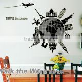 Travel The World DIY Removable PVC Wallpaper Fluorescent Luminous World Building Wall Stickers Living Room Mural Decal ABQ9633