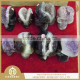 natural amethyst Quartz Crystal Agate Geode human Skull Head Carving best gift for Christmas