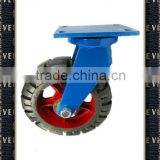 Hardware Super Heavy Duty Industrial Iron Core Black Rubber Biaxial Skidproof Rotating Castor Wheel