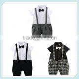0-18M/Summer Style Newborn Baby Boy Clothes Gentleman Tie Short Sleeves Plaid Rompers Band Infant Clothing Strap Jumpsuit