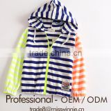 Children baby boys autumn stripe knit hooded ziper sweater coat