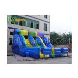 Blue And Yellow Three Tunnel Giant Inflatable Slide Of PVC Inflatable Products CE / UL blower